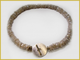 Keshiperlenkette, 925 Silber, 750 Gelbgold, Brillanten