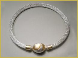 Strickkette, 925 Silber, 750 Gelbgold, Wechselschließe