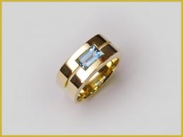 585 Gelbgold, Aquamarin