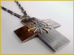 Äbtissinnenkreuz, 925 Silber, 900 Gelbgold